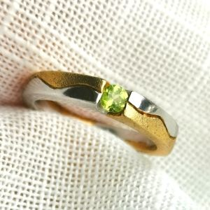 New, sterling silver 14k overlay peridot ring
